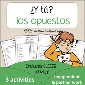 Spanish Cloze Printable, Differentiated, Vocabulary: Opposites / Opuestos