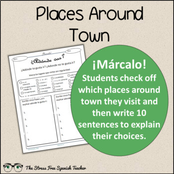 Spanish Cloze Printable, Differentiated, Vocabulary: Places Around Town