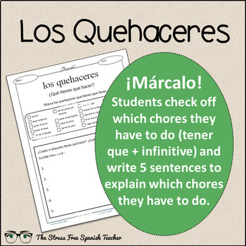 Spanish Cloze Printable, Differentiated, Vocabulary: Quehaceres / Chores