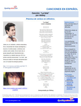 Spanish Cloze Song Aldrey - La Lista, INFINITIVE VERBS, with Answer Key
