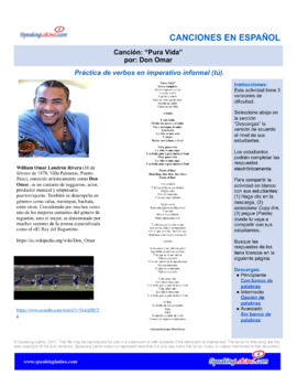 Spanish Cloze Song Don Omar - Pura Vida, to practice COMMANDS, with Answers