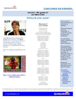 Spanish Cloze Song Manu Chao - Me Gustas Tú, GUSTAR verb practice w/ Answer Key