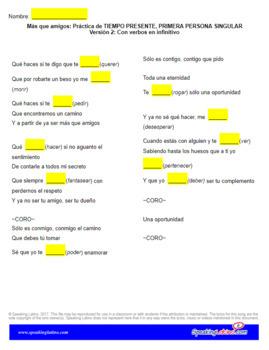 Spanish Cloze Song Matisse ft Carlos Rivera - Más Que Amigos, 1st Person Present