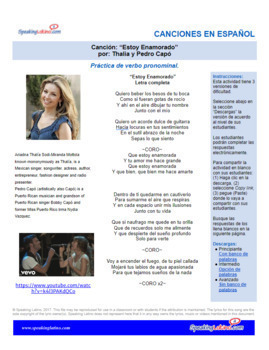 Spanish Cloze Thalia - Estoy Enamorado for Pronominal Verbs, with Answer Key