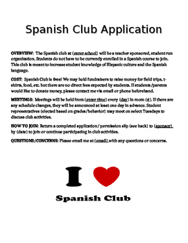 Spanish Club Application & Permission Slip Template