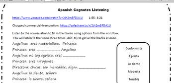 Spanish Cognate Activity Bundle Unit Bundle