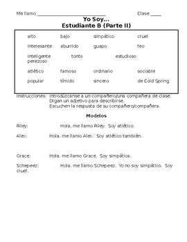 Spanish Cognate Adjective Speaking Activity