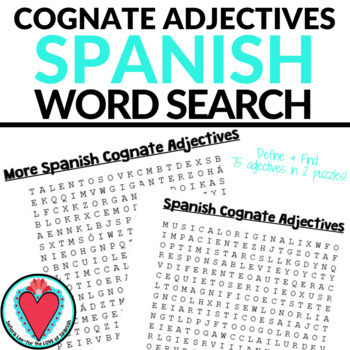 Spanish Adjectives WORD SEARCH - Cognates