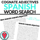Spanish Cognates Adjectives - Spanish Word Search for Back to School