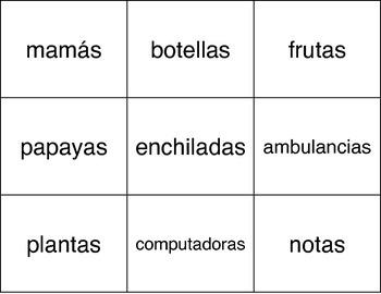 Spanish Cognate Cards, Familiar Word Cards