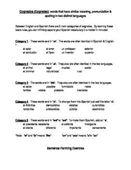 Spanish Cognate Notes and Practice