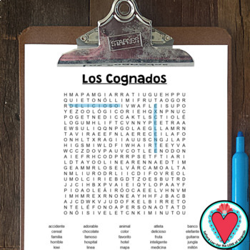 Spanish Cognates - Los Cognados WORD SEARCH