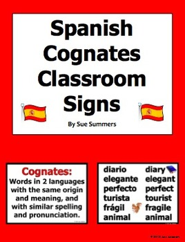 Spanish Cognates Classroom Signs 2 Designs FREE
