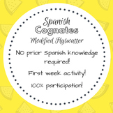 Spanish Cognates - First Week of School Modified Flyswatter