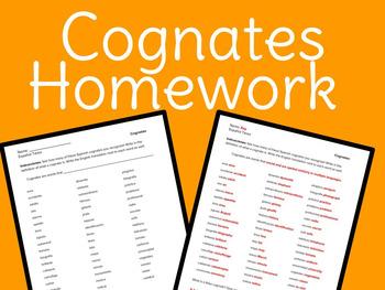 Spanish – Cognates Homework