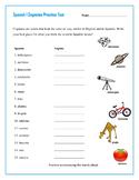Spanish Cognates Practice Test & Wordsearch