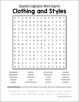 Spanish Cognates Word Puzzles: Clothing and Styles