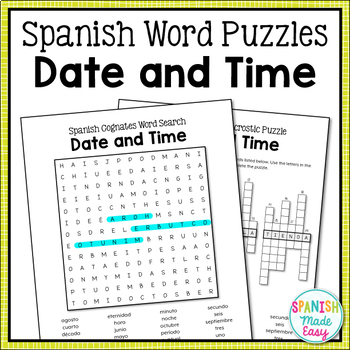Date and Time Spanish Word Puzzles