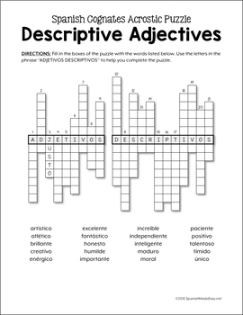 Adjectives Spanish Word Puzzles