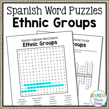 Ethnic Groups Spanish Word Puzzles