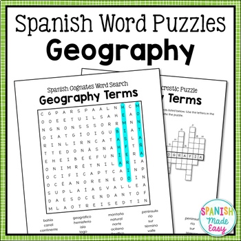 Spanish Cognates: Geography Terms Word Search
