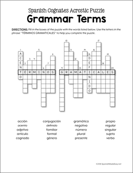 Grammar Terms Spanish Word Puzzles