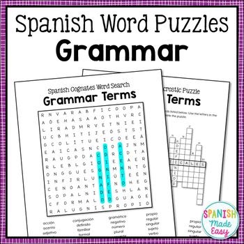 Spanish Cognates Word Puzzles: Grammar Terms