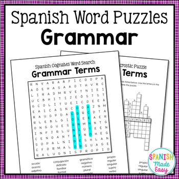 Spanish Grammar Terms Word Search