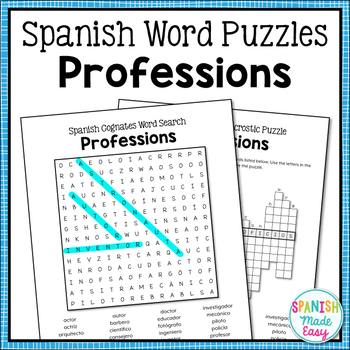 Professions Spanish Word Puzzles