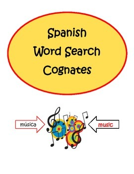 Spanish Cognates Word Search Puzzle