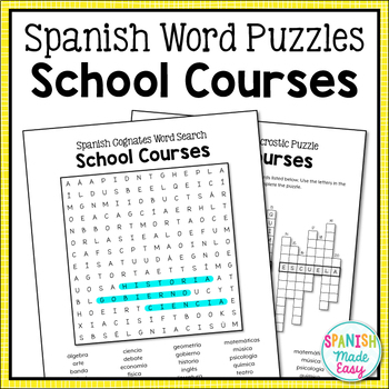 School Courses Spanish Word Puzzles