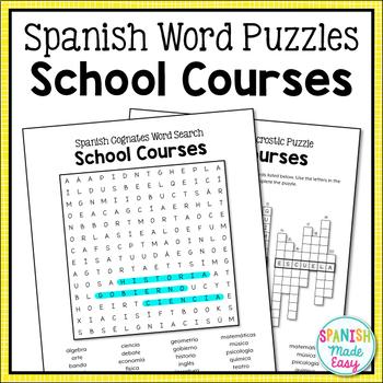 Spanish Cognates Word Puzzles: School Courses