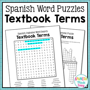 Spanish Cognates Word Puzzles: Textbook Terms