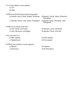 Spanish Cognates Worksheet or Quiz