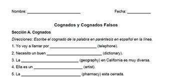 Spanish Cognates and False Cognates