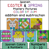 Spanish Color By Mystery Pictures! Easter and Spring, Addition and Subtraction