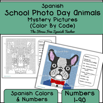 Spanish Color By Number Back To School Picture Day Animals!