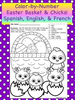 Color-By-Number Easter eggs & chicks- Spanish, English, & French!