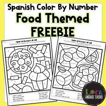 Spanish Color By Number Food FREEBIE
