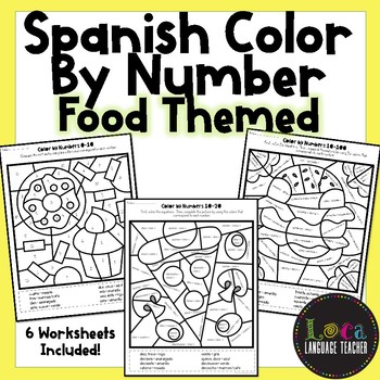 Spanish Color By Number Food Themed