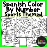 Spanish Color By Number Sports Themed