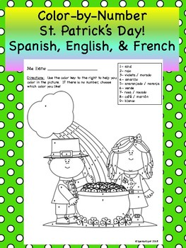 Color-By-Number St. Patrick's Day- Spanish, English, & French!