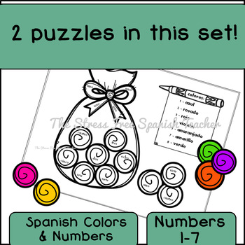 Spanish Color By Number and Color By Number WORD, Sweet Shop, Dulceria