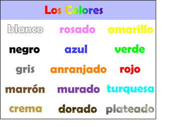 Spanish Color Chart