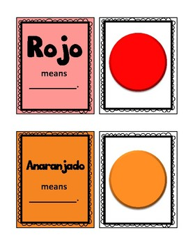 Spanish Color Learning Cards