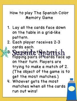 Colors in Spanish Memory Game Cards