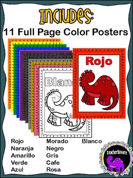 Spanish Color Posters - Dinosaur Theme