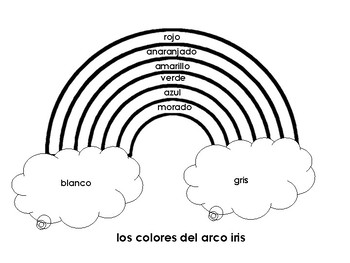 Spanish Color Practice Worksheet / Los colores del arco iris