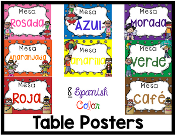 Spanish Table Color Posters