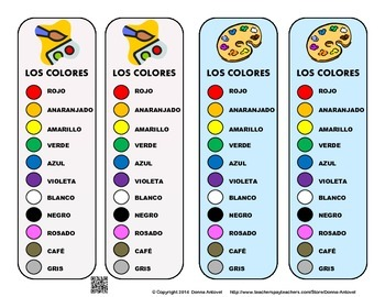 Spanish Color Vocabulary Bookmarks